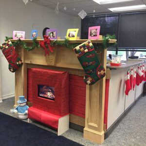 Holiday decorations in an Orchard office area