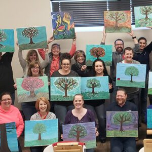 Orchard team showing their painting skills
